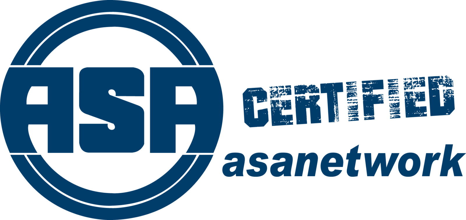 ASA Certified Logo blau auf Weiß